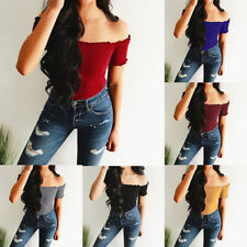 2018 Fashion Women's Sexy Solid Strapless Off Shoulder Short Tops Blouse T-Shirt