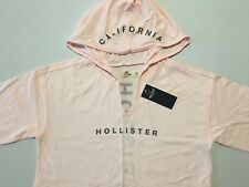 Abercrombie & Fitch Hollister T-Shirt Women's Hooded Logo Tee Top XS Pink NWT