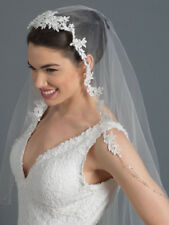 Ivory Single Layer Waltz Length Wedding Bridal Veil With Embroidered Lace Edge
