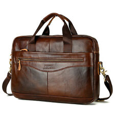 Wax Oil Cow Leather Vintage Handbag Business Briefcase Crossbody Shoulder Bag