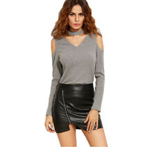 Womens Sexy Clothes Long Sleeve Off Shoulder T-Shirt Casual Grey Shirt TOP