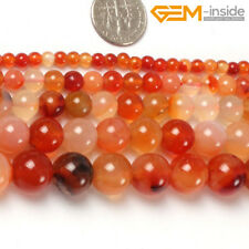 """Natural Round Red Carnelian Agate Genuine Stone Beads For Jewellery Making 15""""CA"""