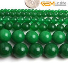 """4-18mm Round Green Jade Stone Beads For Jewellery Making Loose Beads Strand15""""CA"""