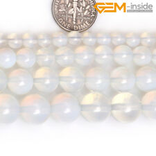 """Round White Opalite Stone Beads For Jewellery Making Loose Spacer Beads 15"""" CA"""