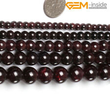 """Natural Round Smooth Red Garnet Gemstone Loose Beads For Jewellery Making 15"""" CA"""