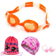 Anti-fog Swimming Goggles Swim Cap Ear Plugs Nose Clip for Kids Boys girls Child