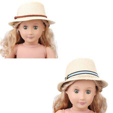 2 Style Summer Straw Hats Fit 43cm Doll and 18 inch American Girl LY