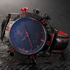 Mens SHARK Red LED Red Black Leather Quartz Analog Date Day Dual Time Wristwatch