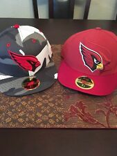 Lot of 2 Brand New Arizona Cardinals Fitted Hats New Era 59Fifty 7 3/8 Stickers