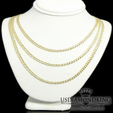 Mens Ladies 2.5mm Solid Italian 10k Real Gold Cuban Curb Link Necklace Chain New
