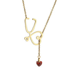 Heart Stethoscope Lariat Necklace Doctor Nurse Medical Necklaces Women Collares