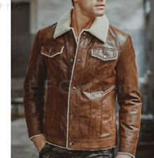 Mens Motorcycle Cafe Racer Distressed Brown Real Leather Jacket