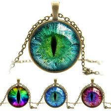 New Dragon Cat Eye Glass Cabochon Plated Pendant Necklace Silver Bronze Jewelry