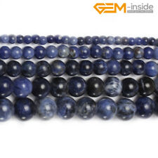 """Natural Round Blue Sodalite Loose Stone Spacer Beads For Jewellery Making 15"""" CA"""