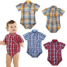 Baby Toddler Plaid Shirt Romper Boys Girls Triangle Jumpsuit Playsuit Sunsuit