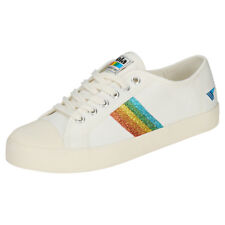 Gola Coaster Rainbow Glitter Womens Off White Multicolour Canvas Trainers