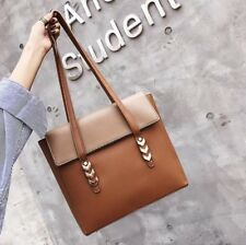 Women Tote Bag Leather Handbags Solid Rivet Design Shoulder Big Bags