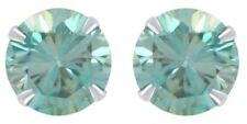 IGI Certified 2.08 Ctw Blue Moissanite Solitaire Stud Earring In 14K Solid Gold