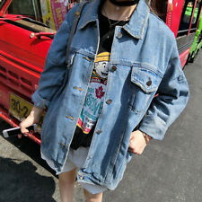 New Women Boyfriend Oversize Loose Jacket Casual Denim Jeans Coat Outwear
