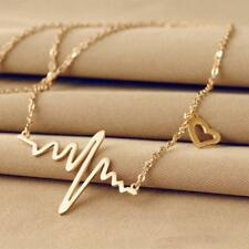 Wave Chic Ecg Pulse Charm Necklace Collares Collier Maxi Heart Beat Necklace