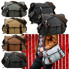 School Shoulder Bag Men's Vintage Crossbody Satchel Canvas Leather Messenger Bag