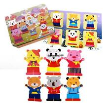 Children Iron Box Wooden Magnetic Jigsaw Puzzle Educational Toy OO55