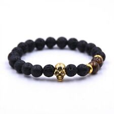 Natural Lava Rock Bracelets Bronze Energy Stone Beads Men Jewelry Gift Accessory