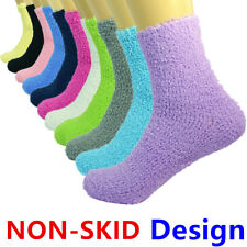 For Womens Lot 3-10 Pairs Soft Crew Cozy Fuzzy Socks With Non-Skid Solid Slipper