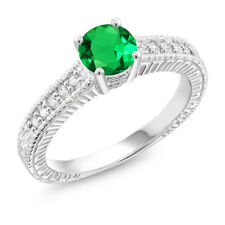 0.92 Ct Green Simulated Emerald White Created Sapphire 925 Sterling Silver Ring