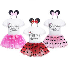 Birthday Baby Girls Outfit Set Toddler Cartoon Top Tutu Skirt Party Kids Clothes