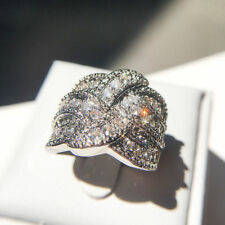 Ring Sapphire Band  Cross Infinite Gifts 925 Silver Wedding Gorgeous White Criss