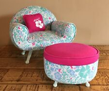 American Girl Doll Furniture-KANANI Chair + Ottoman + Aloha Pillow~Used