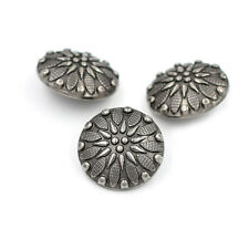 7/12PCS Vintage Antique Silver Round Carving Shank Buttons Craft DIY 21mm/34L