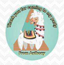 Llama personalised custom name thank you birthday party favour stickers