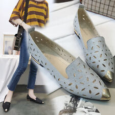Metal Pointed Toe Flat Sandals Hollow Womens Shoes Slip On Shallow Breathable YH