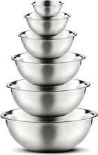 Mixing Bowl 6pc Set Stainless Steel Polished Mirror Finish Cooking Supplies New