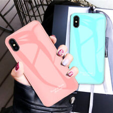 Solid Color Tempered Glass Back Case Soft Edge Cover For iPhone Xs Max Xr X 8 7+