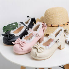 New Women Bow Platform Pumps Cute Closed Toe Ankle Strap Lolita Mary Jane Shoes