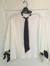 NWT Zara White Ecru Ivory blouse top WITH POLKA DOT BOW 1639/072 size S , M