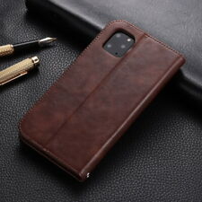 For iPhone 11 Pro Max XS XR 7 8 Genuine Leather Magnetic Wallet Flip Case Cover