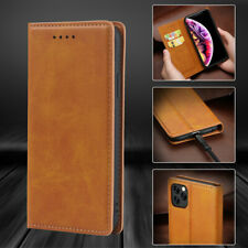For iPhone 11 Pro Max XS XR Glossy Luxury Genuine Leather Flip Wallet Case Cover