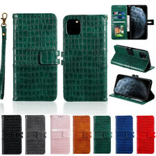 For iPhone 11 Pro Max XS XR X 8 7 6 Luxury Crocodile Pattern Leather Wallet Case