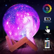 USB Galaxy Moon Lamp Touch Remote 3D LED Lamp Night Light Badroom Kids Gift Xmas