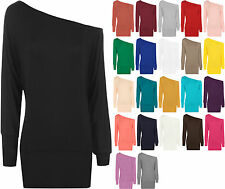 New Womens Off Shoulder Long Sleeve Batwing Ladies Plain Stretch Top