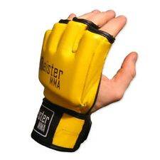 MEISTER YELLOW 4OZ ULTIMATE MMA GLOVES - LEATHER OPEN PALM UFC - PRO FIGHT LEGAL