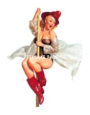 Pin Up Girl Fireman Pole Fabric Block Multi Sizes