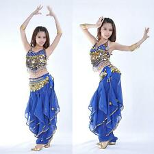 New Belly Dance Costume top &gold wavy pants 12 colours
