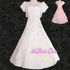 Bead Satin Formal Occasion Dress Bolero Wedding Flower Girl Communion 2T-12 #097
