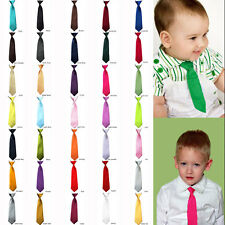 Young School Boy, Kids, Child, Toddler Wedding Solid Color Elastic Tie Necktie