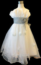 White Gray Wedding Flower Girls Dress Pageant Gown Size 3-12 Age 2-13 Years